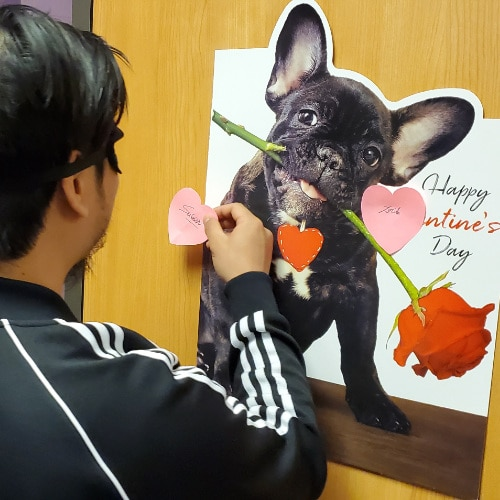 Valentines Day at Excel | ESL Pin the Heart on the Frenchie